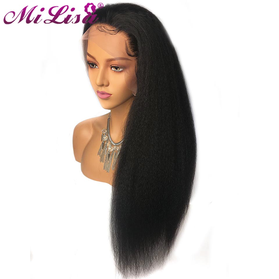 Kinky Straight Wig Pre Plucked With Baby Hair Lace Front Wig Remy Mongolian Yaki Human Hair Lace Frontal Wigs For Black Women