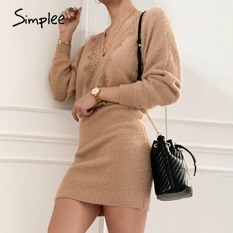 Simplee Sexy khaki knitted backless women dress V-neck lace up bodycon short dress Office street autumn winter dress 2020