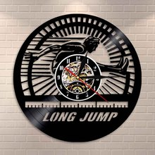 Long Jump Athlete Wall Clock Track and Field Vinyl Record Wall Clock Home Decor Modern Design Decorative Clock Long Jumpers Gift