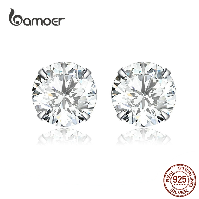 Bamoer HOT SALE Basic Wedding Stud Earrings Solid Silver 925 Clear Cubic Zirconia 7mm  Women Statement Jewelry BSE166