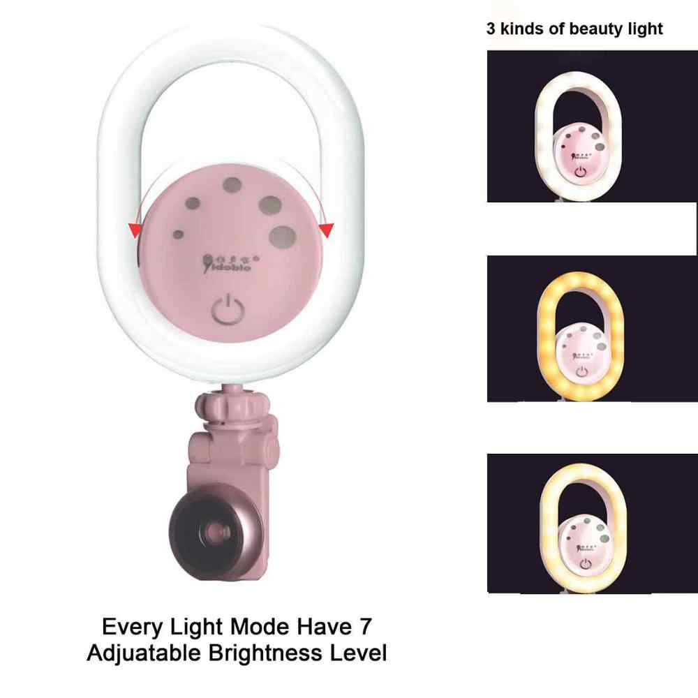 Yidoblo DS-06 sıcak ve soğuk Selfie halka ışık geniş açı makro Lens makyaj canlı akışı doldurma ışık halkası lamba iPhone için evrensel