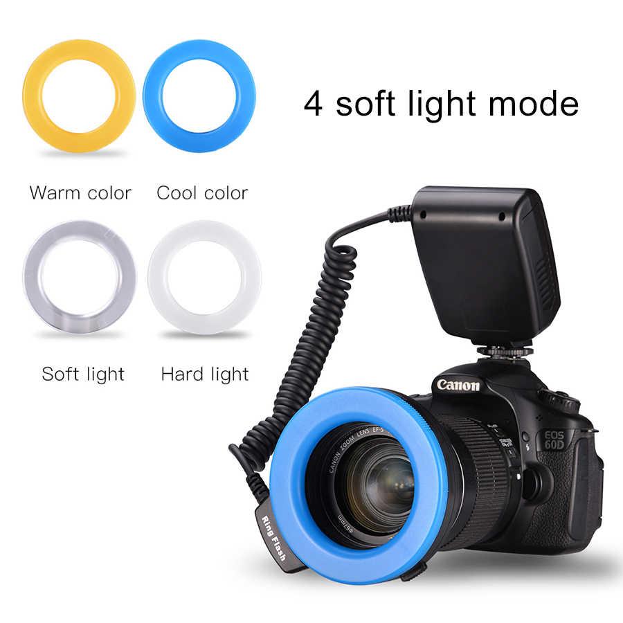 MAMEN 5-15cm מאקרו LED טבעת פלאש אור סטודיו אור 3000-15000K עבור Canon Nikon Panasonic DSLR מצלמה אוניברסלי פלאש Speedlite