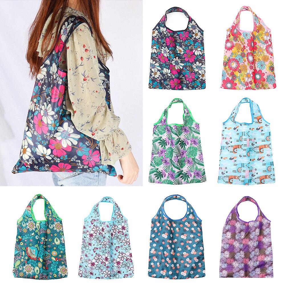 Складные сумки для покупок с цветочным принтом, пакеты из перерабатываемого полиэстера, сумки для продуктов, экологически чистая многоразо...