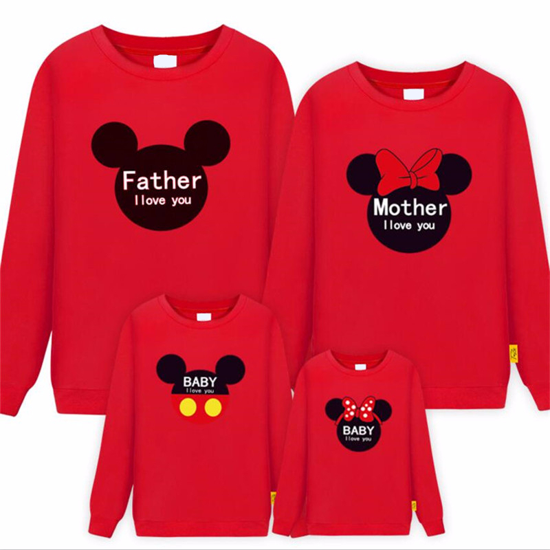 2019 New Family Tops Clothes Long-Sleeve Mom Dad Daughter Son T-Shirts Mickey Minnie Mommy And Me Sweatshirt Matching Clothing
