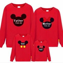 2019 Nova Encabeça Roupas Da Família Pai Mãe Filho Filha da Longo-Luva T-shirt Mickey Minnie Mommy and Me Camisola Correspondência roupas