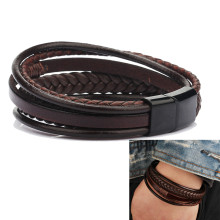Multilayer Leather Bracelet Men Magnetic-Clasp Bangles For Men Cowhide Braided Multi Layer Wrap Bracelet pulseras para hombre(China)