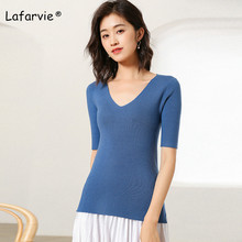 Lafarvie New Arrival V-neck Knitted Sweater Women Tops Short Sleeve Pullover Female Fit-tight Jumper Pull 6 Colors S-XXL цены онлайн