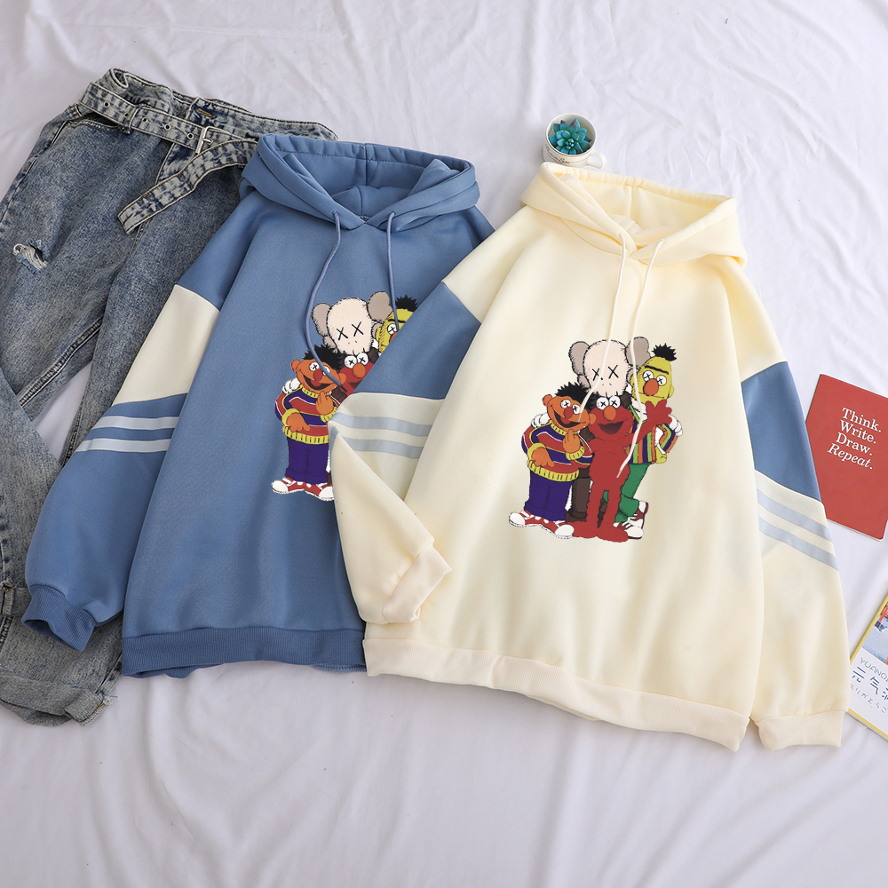 Fashion Funny Sesame Street Print Sweatshirt Hoodies Women Hip Hop Casual Cotton Hooded Streetwear Patchwork For Female Clothes