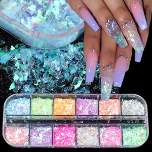 12 Grids Irregular Nail Glitter Flakes Fluorescent Spangles Sparkly Sequins 3D Arylic Nails Art Decorations Polish Manicure TRSP