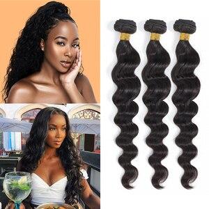 Бразильские волосы, волнистые, глубокие, волнистые пучки, натуральные, черные, 1/3/4 шт./лот, 100% человеческие волосы, пучки, свободные, волнисты...