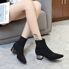 2019 Winter High Heel Shoes Women Sock Boots Pointed Toe Fashion Ladies Square Heels Shoes Stretch Knitting Ankle Booties Woman 2017 new fashion gold blue black stretch velvet block heel ankle booties celebrity women boots zip high heels shoes woman