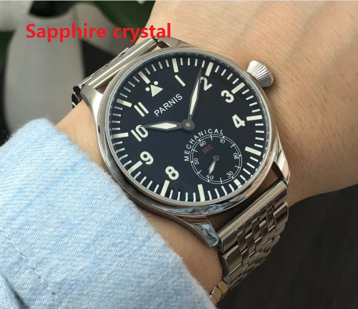 Sapphire crystal  luminous 44mm parnis Black dial Asian 6498  Mechanical Hand Wind movement men's watches 0142A