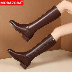 MORAZORA/2020 Большие размеры 35-44; Зимние сапоги до колена; Женская обувь на низком каблуке с квадратным носком; Женские сапоги из натуральной кожи