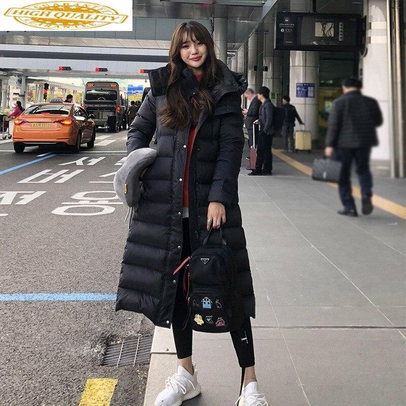Winter Coat Women 90% White Duck Down Jacket Women Long Down Coat Hooded Puffer Jacket Warm Parka Casaco YY1399