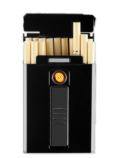 Cigarette Case with USB Lighter Cigarette Box For 6mm Slim Woman And Men Cigarettes Hold 14pcs 6mm Slim Cigarettes 85s DH9011