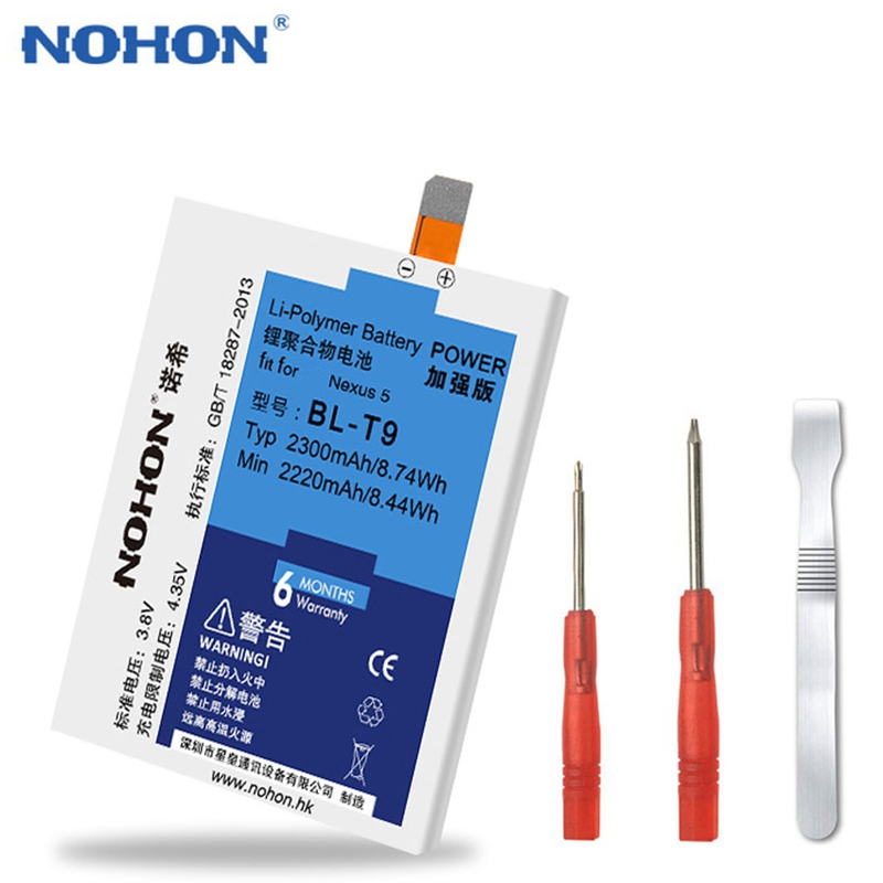 Original NOHON <font><b>Battery</b></font> <font><b>BL</b></font>-<font><b>T9</b></font> for LG Google Nexus 5 <font><b>Battery</b></font> D820/D821 <font><b>BL</b></font> <font><b>T9</b></font> Li-ion Bateria 2300mAh Replacement Phone <font><b>Battery</b></font> image