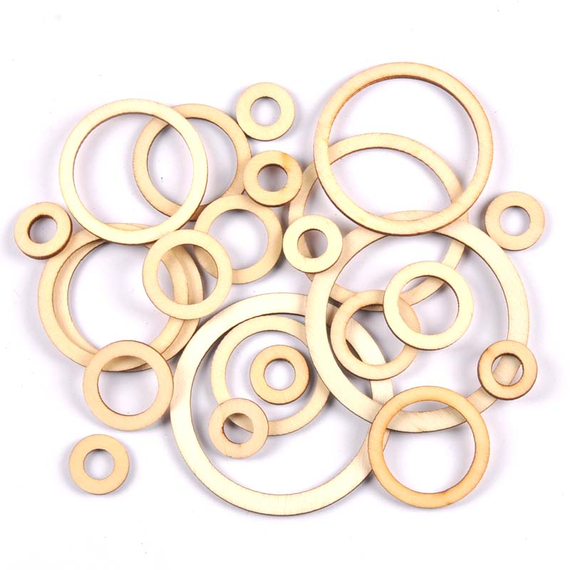Wooden Circle/ring Arts Scrapbooking Ornament Crafts DIY Round Handicraft Decoration 20/30/40/50/60/75mm Mt2569