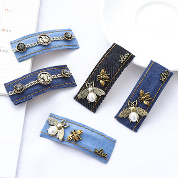 1PCS Women Hairpins Pearl diamond Metal chain Denim hair clips for women with crystal rhinestone hair accessories fashion 2020 europe trendy hair clips for women starfish shell shape 2 color metal sticks pearl hairpins jewelry gift for girlfriend yha007