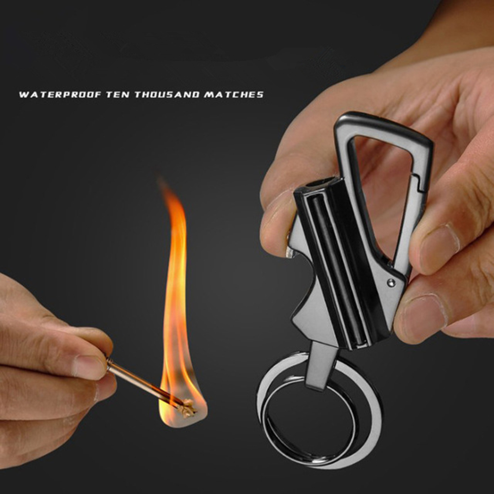 Carabiner Permanent Match Forward Waterproof Outdoor Survival Tool Keychain Flint Fire Starter Camping Lighter Portable
