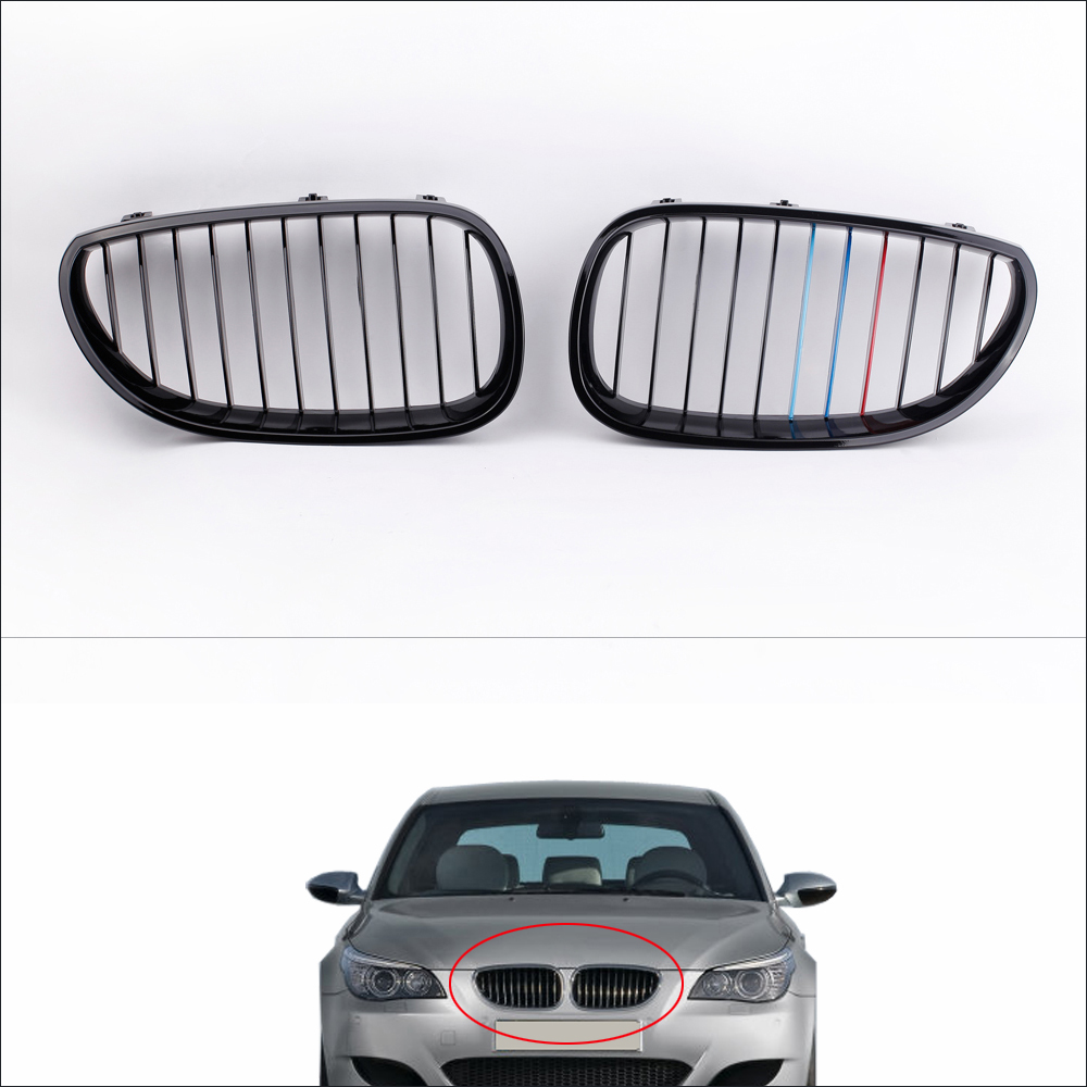 KKMOON 2Pcs Gloss Black M-color Front Kidney Grille for <font><b>BMW</b></font> <font><b>E60</b></font> E61 <font><b>5</b></font> <font><b>Series</b></font> Sedan 2004-2010 image