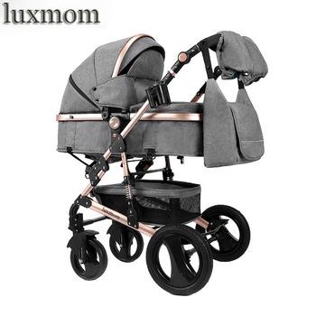 Luxmom wózek 2 w 1 wózek dwukierunkowa wózek regulowany podłokietnik cztery pory roku są nadaje się do użytku darmowa wysyłka tanie i dobre opinie NoEnName_Null 35kg voondo xinkuan