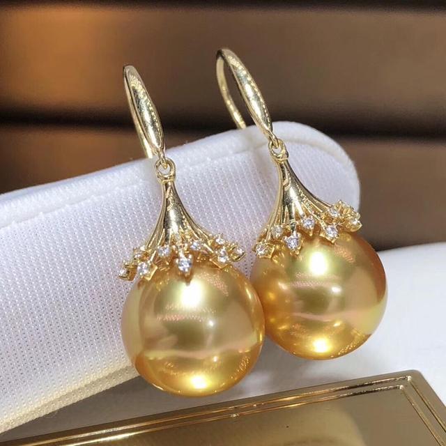 Fine Jewelry Pure 18 K Rose Gold Natural Philippine Origin 11-12 Ocean Golden Round Pearl Earrings for Women Fine Pearl Earrings 5