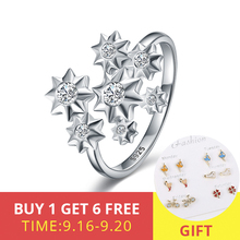 2019 Snowflake CZ Wedding Ring Opening adjustable Fashion Jewelry 100% 925 Sterling Silver Finger Rings for women Best Gift стоимость
