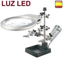 Lupa de precisión con pinzas y soporte de luz led tercera mano electrónica