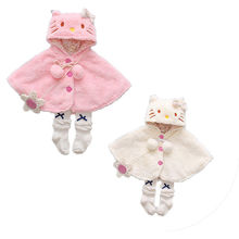 Милый плащ-пончо с капюшоном для маленьких девочек; Верхняя одежда; детское зимнее теплое пальто на пуговицах; топы