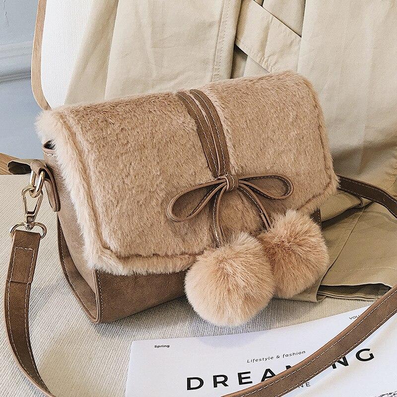 Fée sac femme 2018 nouvelle version Chaohan de mignon sac en laine mode unique épaule sac incliné 100 petit sac carré