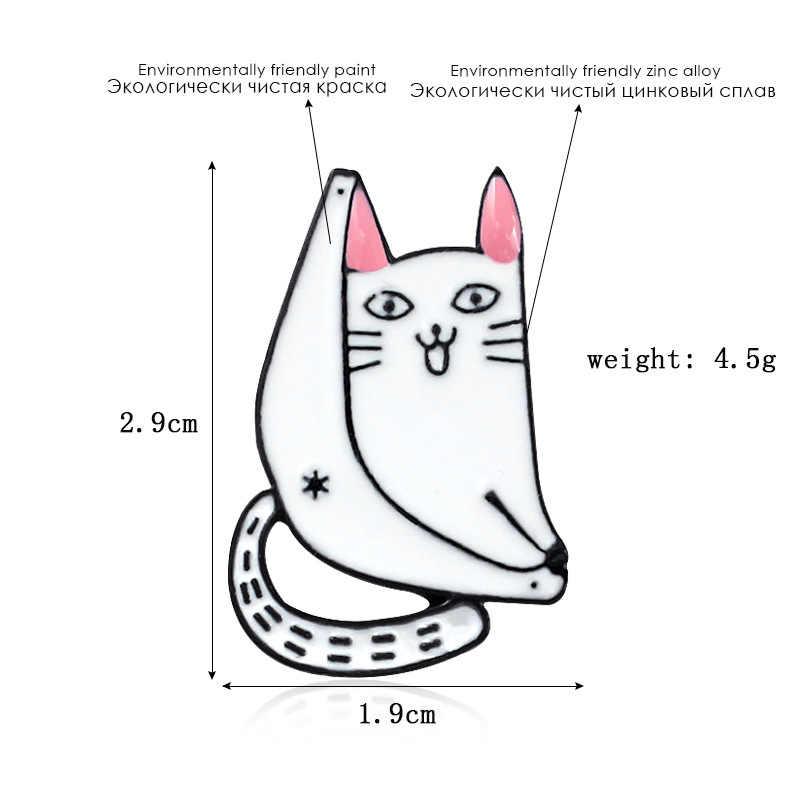 Giapponese Distintivi e Simboli Carino Divide Gatto Spille per Le Donne Semplice Divertente Animale Spilli Dei Monili Dello Smalto Spille Giubbotti Collare Distintivo per il Ballerino