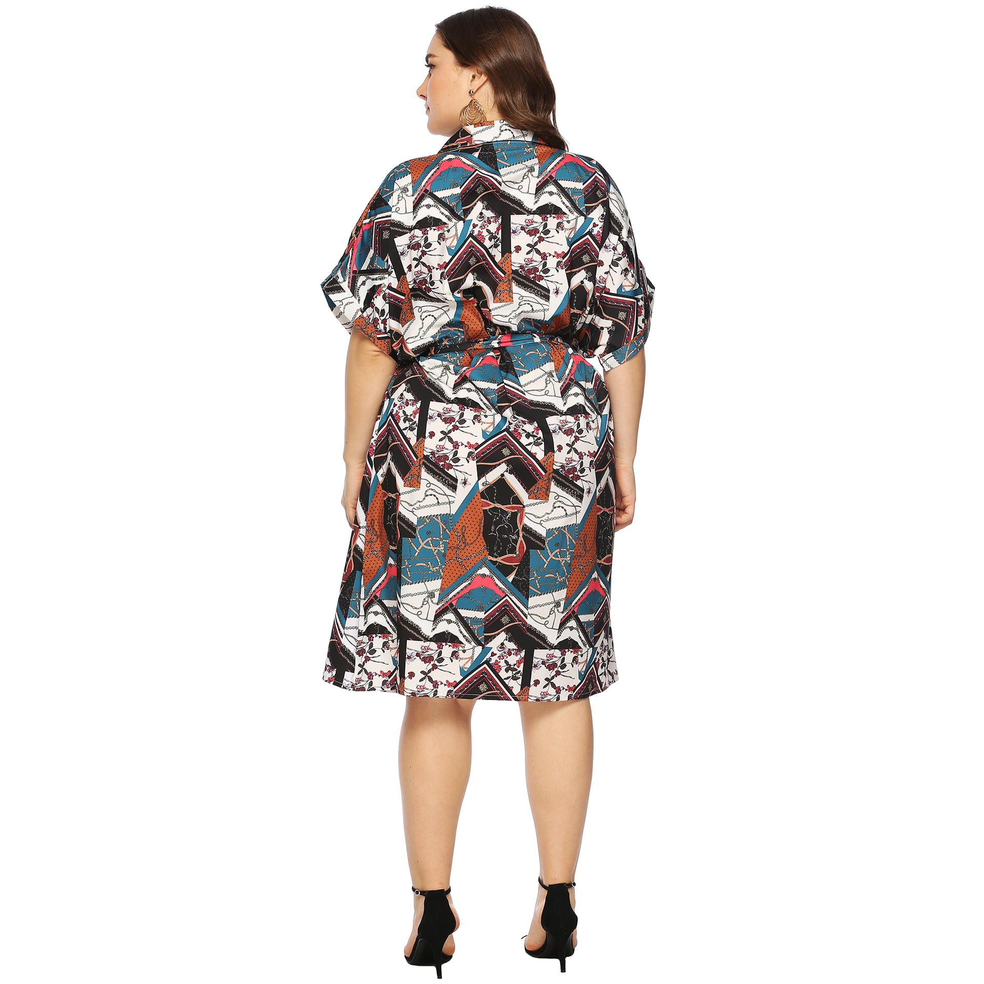Large Size Retro Printed Bandage Cloth Dress Loose Short Sleeve Cardigan Shirt Cardigan Zt11509