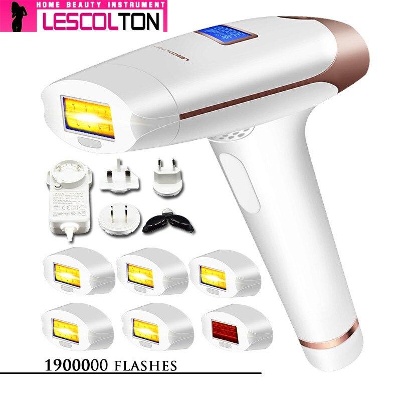 100% original lescolton 6in1 5in1 4in1 ipl laser máquina de depilação a laser depilador permanente elétrico 1900000 pulso