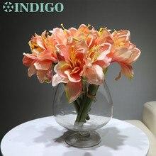 3pcs/Lot Pink Mini Amaryllis Orchids Bouquet Bride Wedding Flower Artificial Floral Event Party Free Shipping