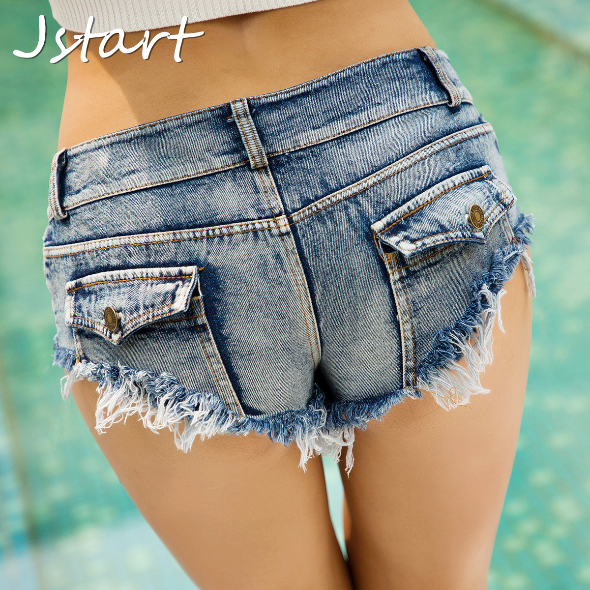 Women Sexy Mini Short Jeans Booty Shorts Denim Pocket Autumn Low Waist Casual Club Party Female Bottom