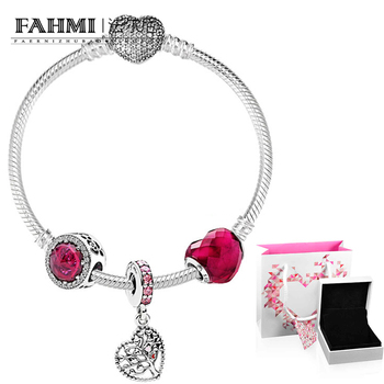 2020 100% 925 Sterling Silver 1:1 Delicate Rose Red Heart Beaded Silver Love Tree Pendant Bracelet XZT0081 Valentine's Day Gift