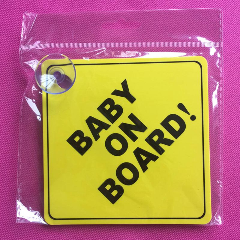 BABY ON BOARD Stroller Safety Car Window Sticker Yellow Reflective Warning Sign DXAC