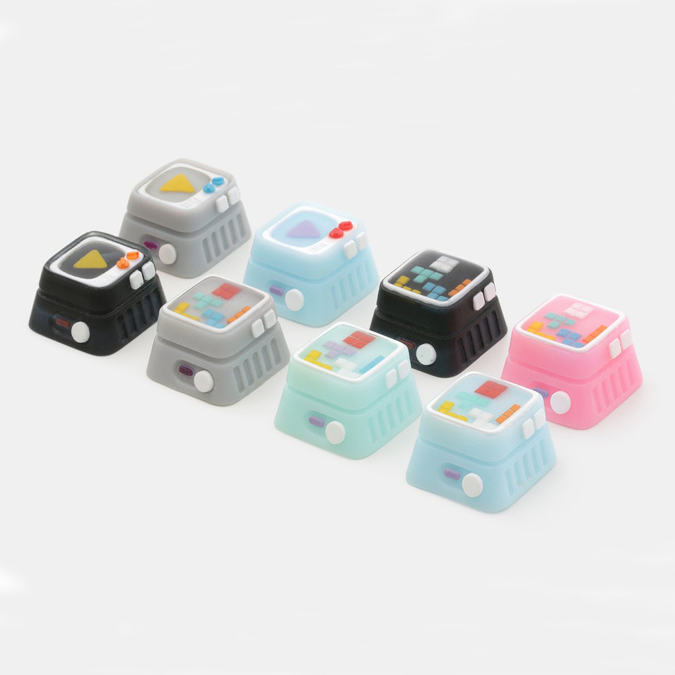 1pc M.7 Cream Memory Television Game Machine Resin Manual Personality Key Cap For Mechanical Keyboard With MX Switch