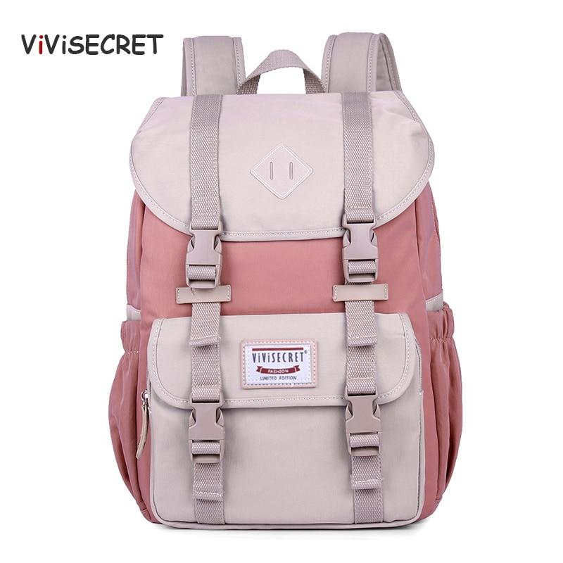 VIVISECRET New Hot Multifunction Women Backpack High Quality Canvas Laptop Backpack Schoolbag For Teenager Girls Travel Bagpack