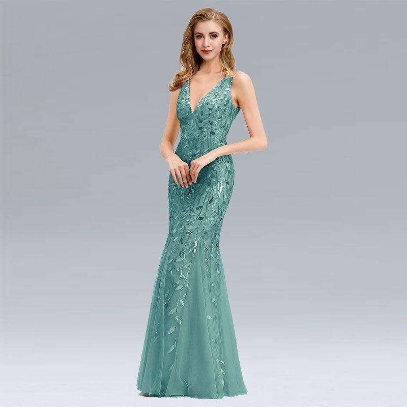 Beauty Emily V Neck Strapless Evening Dresses Silver Appliques Tulle Mermaid Dress Pleated Zipper Open Back Robe De Soiree