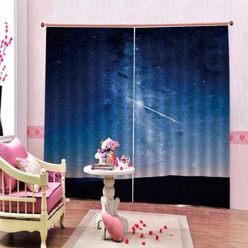 Customized size curtains Desert night starry sky Digital Print 3D Blackout Curtains For Living room