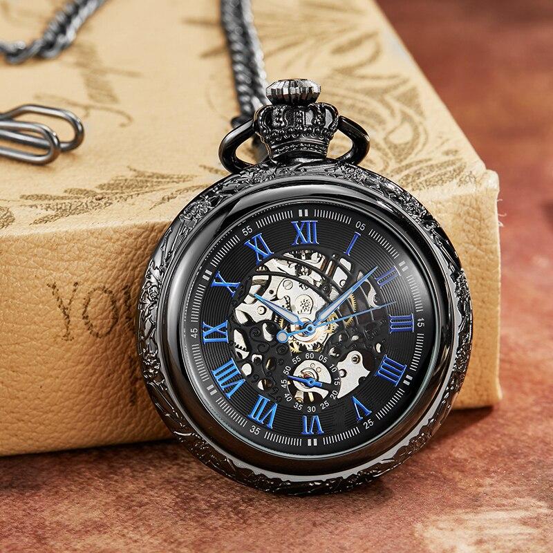 Black Bronze Hollow Unique Sculpture Mechanical Pocket Watch Retro Luckly Symbol Roman Skeleton Mechanical Pocket Watch 2019