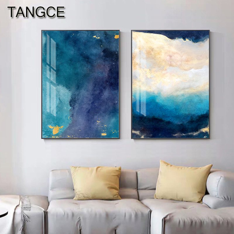 Abstract Dreamy Golden Blue Canvas Painting Modern Tableaux Cuadros Big Wall Art Picture For Living Room Yellow Poster And Print