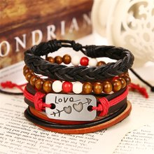 IFMIA Vintage Wood Beaded Rope Chain Bracelet for Women Men Fashion 2019 Love Double Heart Carved Bracelet Leather Charm Jewelry(China)