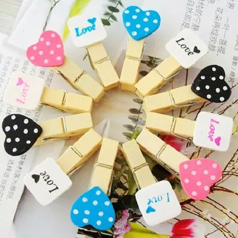 DIY Heart  Wood Pegs Pins Wooden Peg Clip Clamp Clothing Clips Decoration 3.5cm