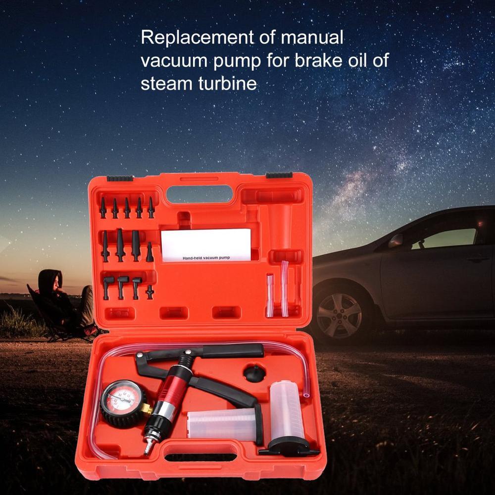 Yeni çok fonksiyonlu el düzenlenen vakum ve basınç pompası test kiti fren hava alma için komple Set araba test aracı ayarları
