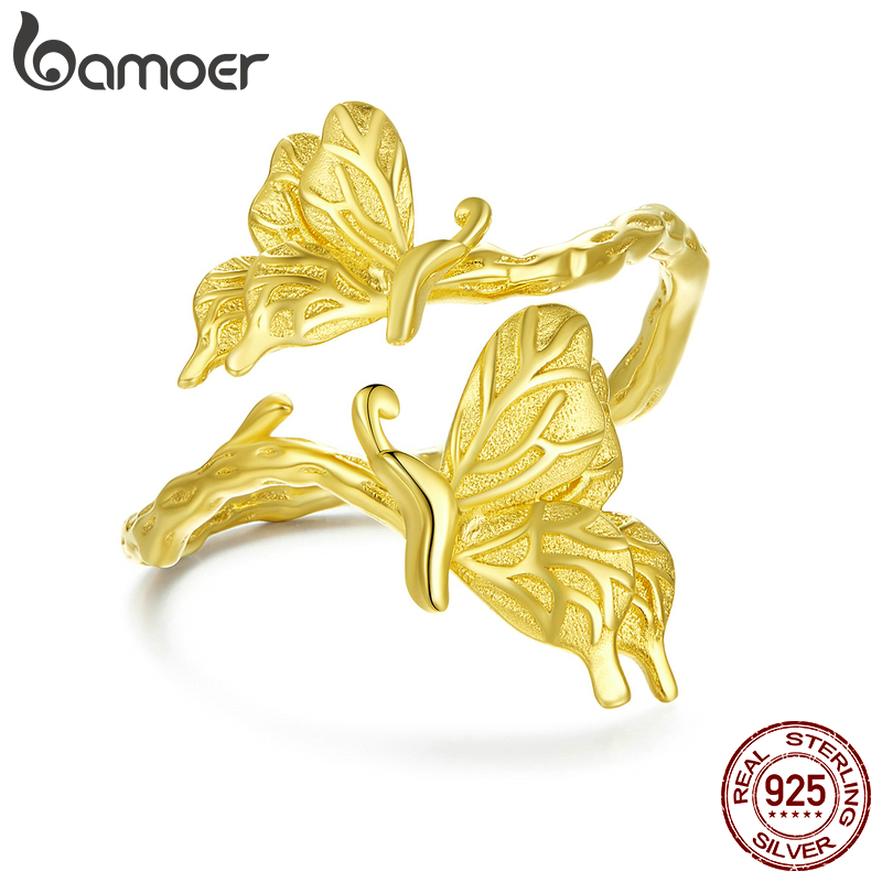 Bamoer Authentic 925 Sterling Silver Dancing Butterfly Open Adjustable Finger Rings For Women Gold Color Party Jewelry BSR077