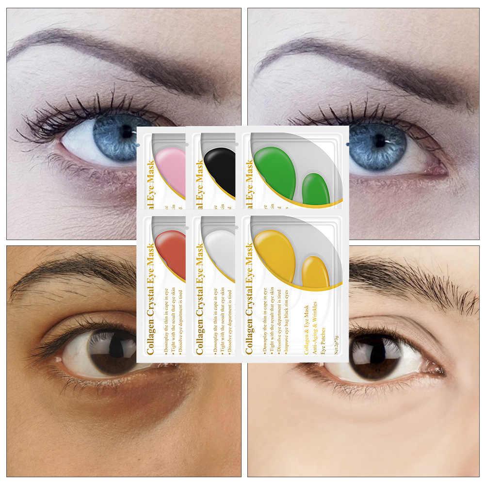 Máscara de Ojos de colágeno de oro azul Bina 24K a círculo oscuro 6 colores 1 par de arrugas antiedad máscara Gel parches para los ojos cuidado de la piel