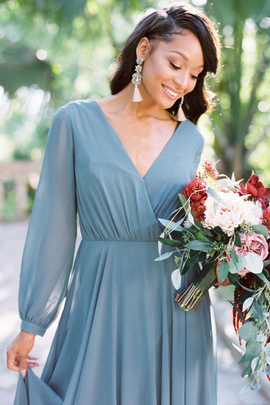 Chiffon A-line Bridesmaid Dresses 2020 Long Sleeves V-neck Wedding Guest Dress Vestido De Festa Vestido Madrinha