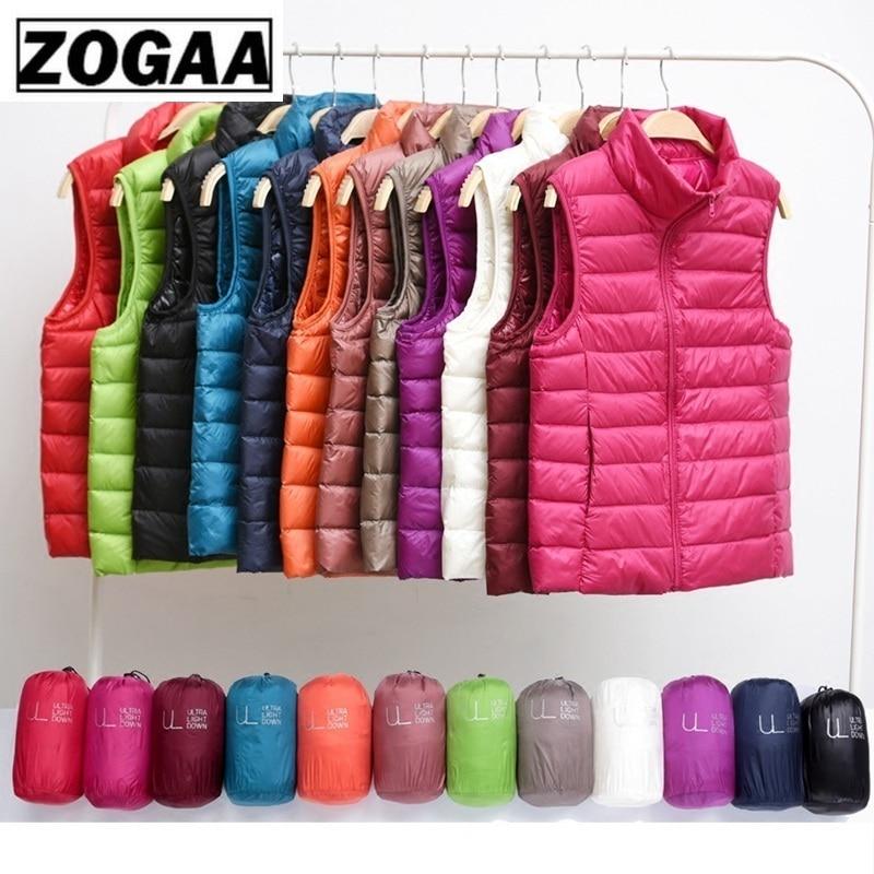 Zogaa Brand Woman Winter Vest Cotton Sleeveless Womens Jackets 12 Colors Ultralight Down Jacket Puffer Vest Outwear Warm Coat